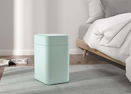 Bedroom with Teal Townew Trash Can